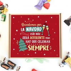 Caja Brindemos por Navidad, color rojo